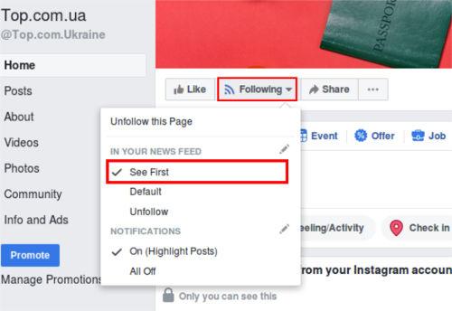 set priority in facebook